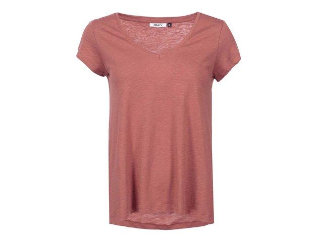 Červené volnější tričko ONLY Gold