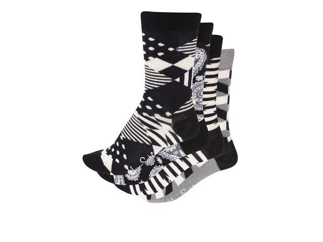 Sada šedo-černých unisex ponožek Happy Socks