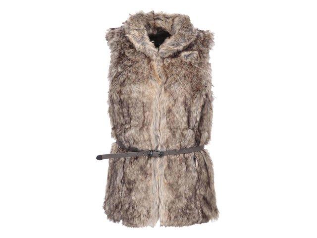 Hnědá kožešinová vesta s páskem ONLY Bilbao