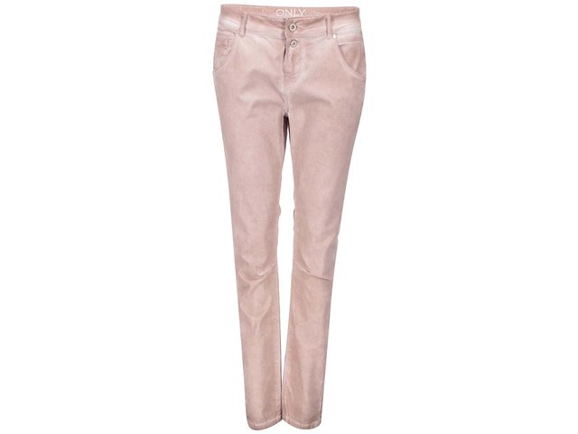 Starorůžové kalhoty s vyšisovaným efektem ONLY Lise