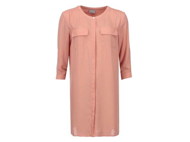 Korálová delší košile Vero Moda Juna