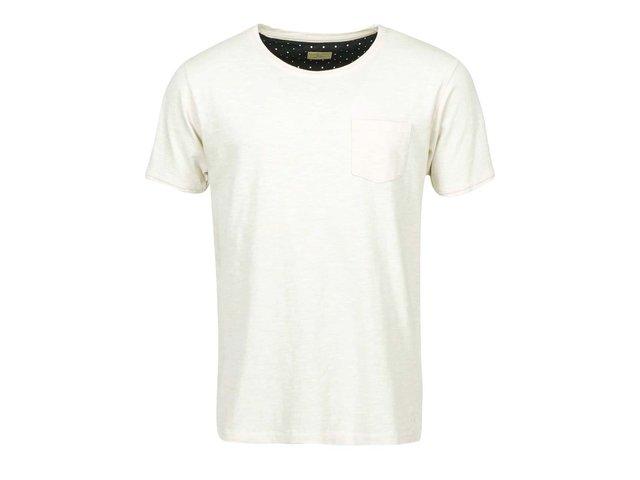 Krémové triko s kapsou Selected Sense