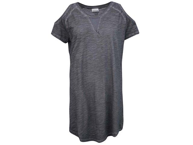 Šedé žíhané dlouhé tričko/šaty s průstřihy na ramenou Noisy May Washa