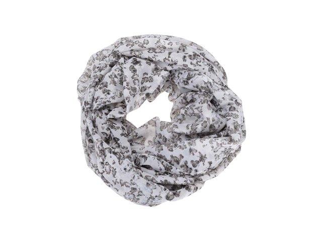 Šedo-bílý dutý šátek s květy Pieces Ren