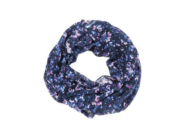 Tmavě modrý dutý šátek s květy Pieces Ren