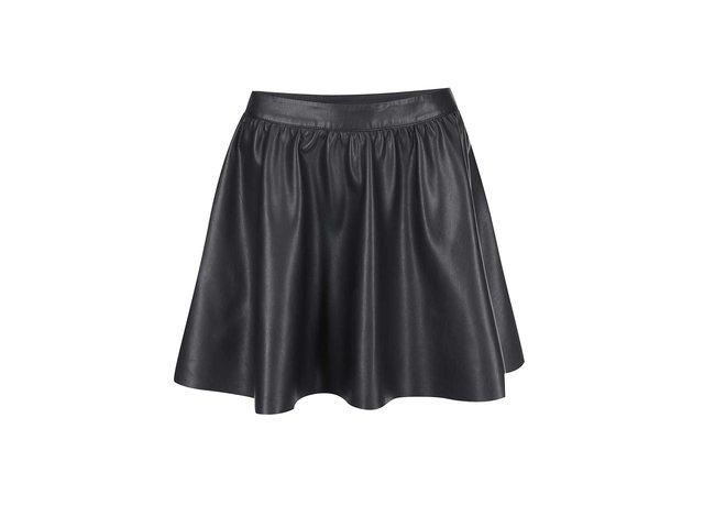 Černá koženková sukně VILA Noir