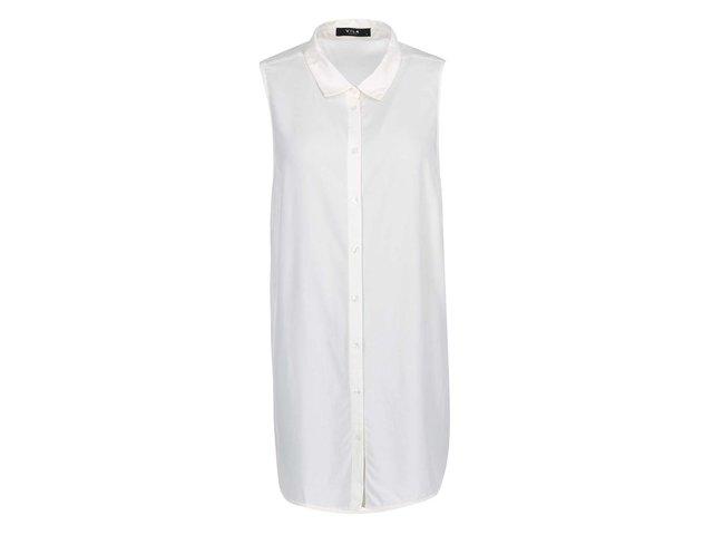 Krémová dlouhá košile bez rukávů VILA Mask