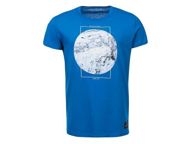 Modré triko s nápisem Jack & Jones Square
