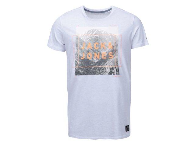 Bílé triko s nápisem Jack & Jones Square