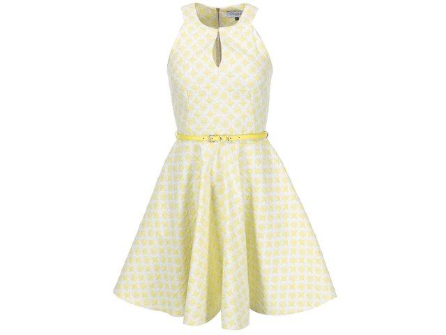 Žluté vzorované šaty s páskem Closet