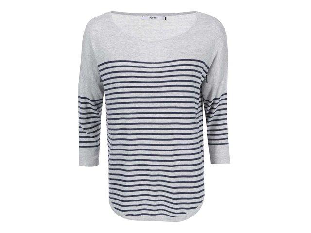 Světle šedý svetr s proužky a 3/4 rukávy ONLY Scarlett