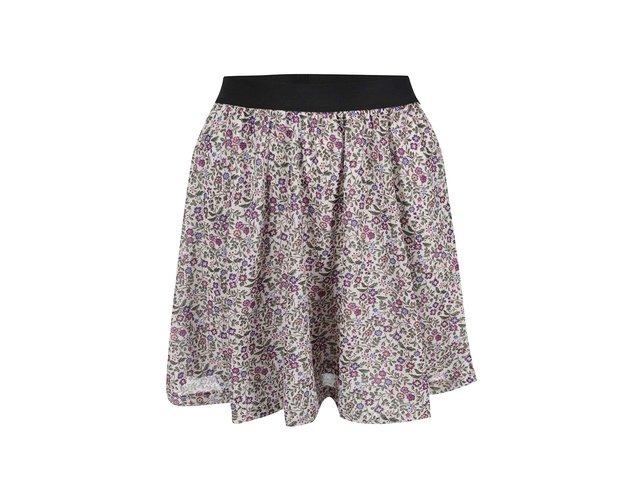 Krémová květovaná sukně ONLY Gytte