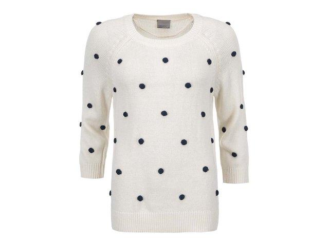 Krémový svetr s našitými puntíky Vero Moda Vinna