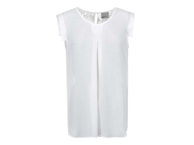 Bílý průsvitný top s krajkovými detaily Vero Moda Juliane
