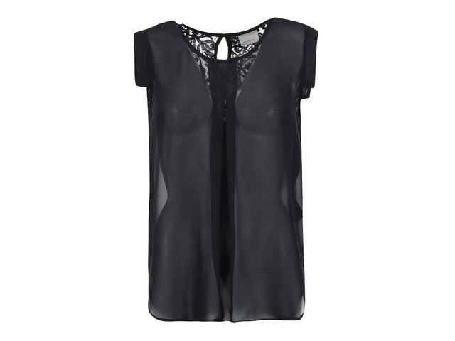 Černý průsvitný top s krajkovými detaily Vero Moda Juliane