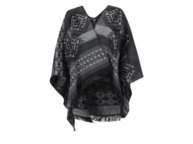 Černo-šedé vzorované pončo Vero Moda Rilla