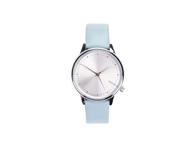 Dámské hodinky ve stříbrné barvě s modrým páskem Komono Estelle