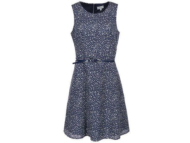 Tmavě modré vzorované šaty s páskem Apricot