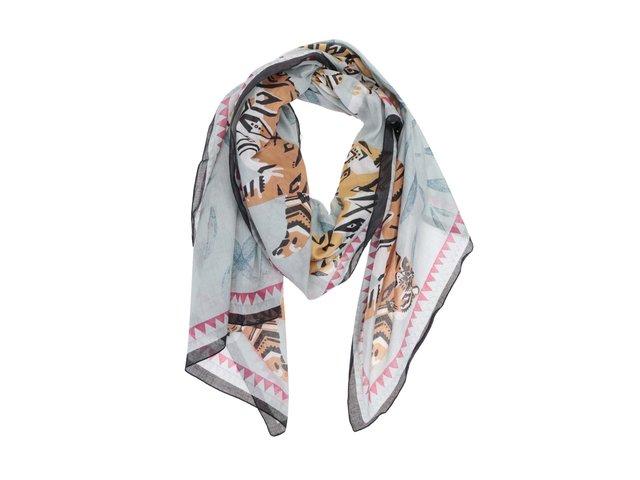 Světle modrý šátek s tygrem Disaster