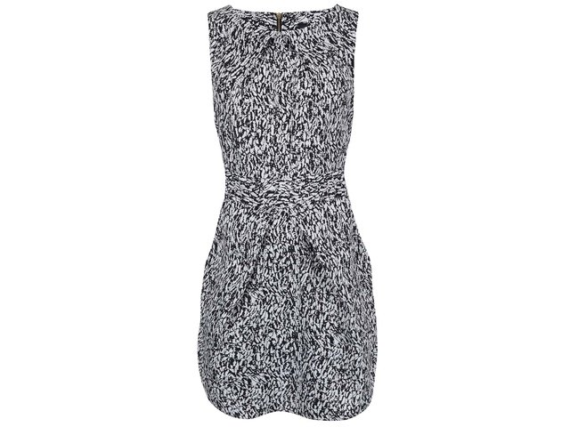 Černo-bílé vzorované šaty s vázáním v pase Closet