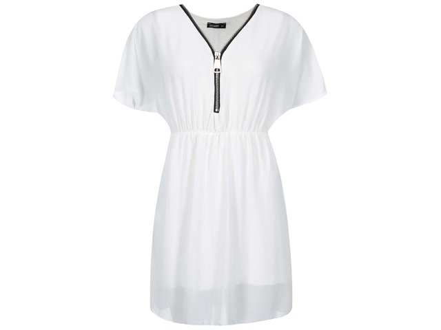Bílé šaty se zipem ve stříbrné barvě Haily´s Nola