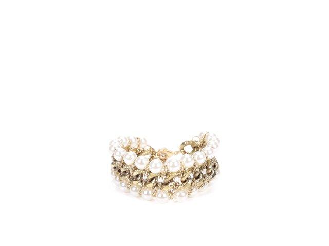 Náramek ve zlaté barvě s perličkami Pieces Rilo