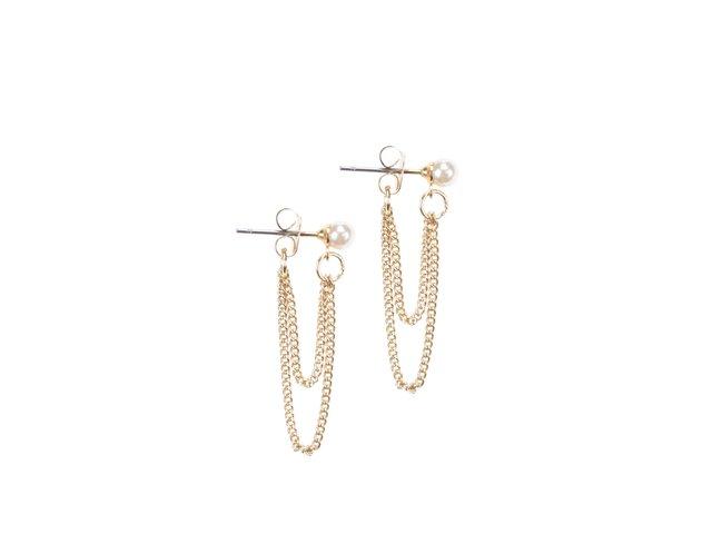 Náušnice ve zlaté barvě s perličkou a řetízky Pieces Rilo