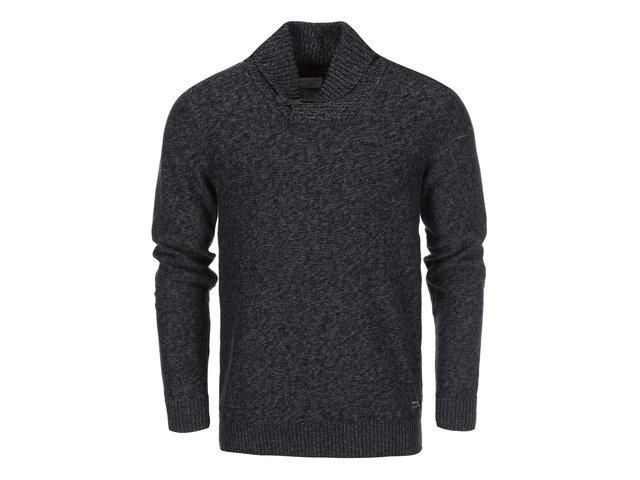 Černý pletený svetr s šedým žíháním Selected Bowan