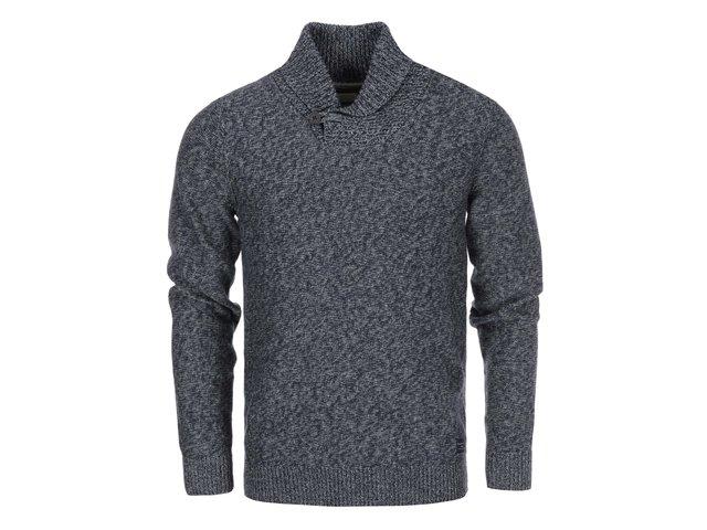 Tmavě modrý pletený svetr s šedým žíháním Selected Bowan