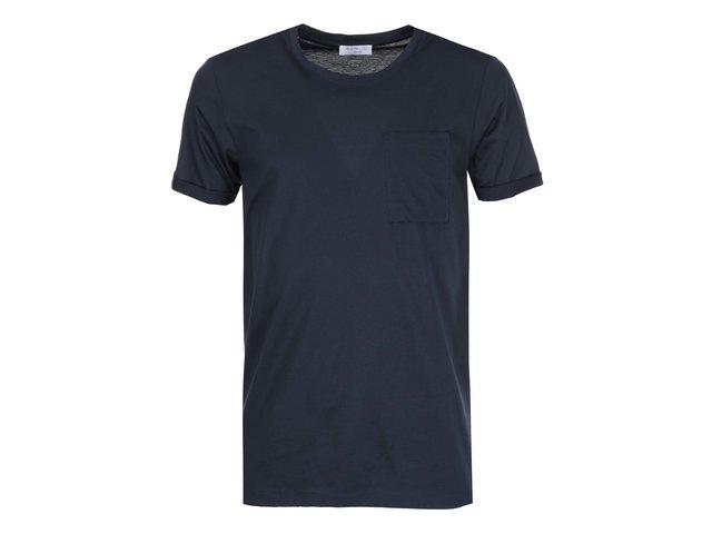 Tmavě modré triko s náprsní kapsou Selected Diego