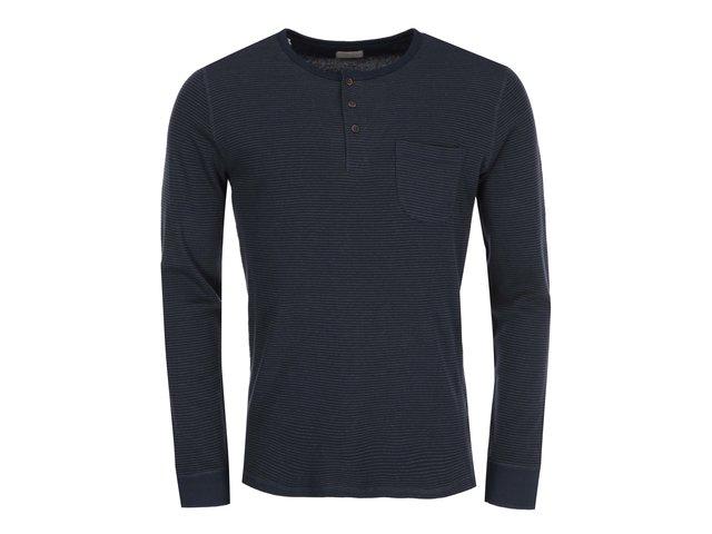 Tmavě modré triko s knoflíky Selected Flint