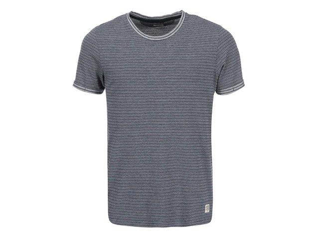 Tmavě modré pruhované triko se vzory Jack & Jones Warren