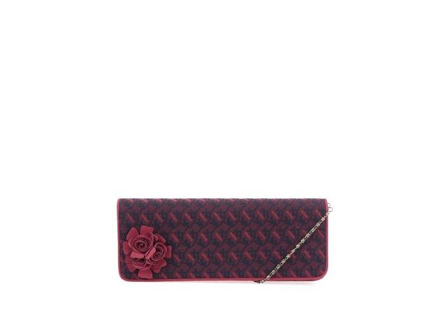 Vínové vzorované psaníčko s květinou Ruby Shoo London