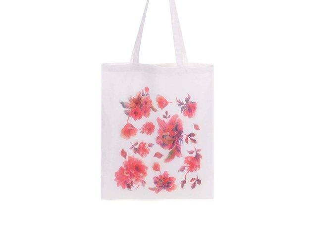 Bílá plátěná taška ZOOT Lokál Květiny