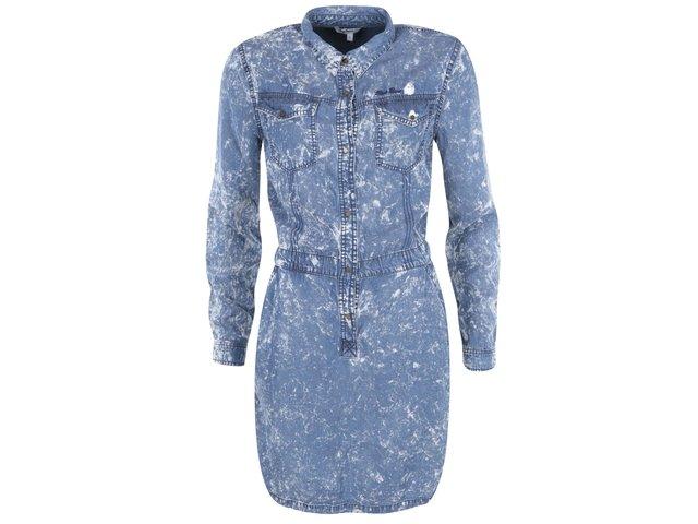 Modré džínové skvrnité šaty Pepe Jeans Aeryn