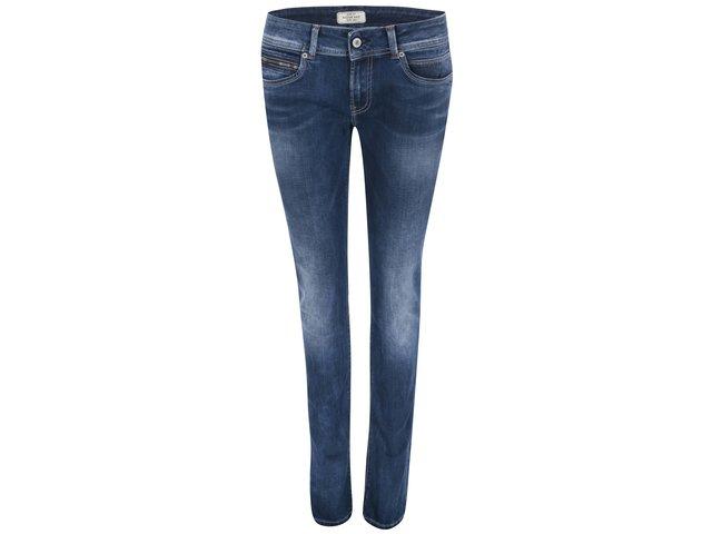 Modré dámské vyšisované džíny s nízkým pasem Pepe Jeans New Brooke