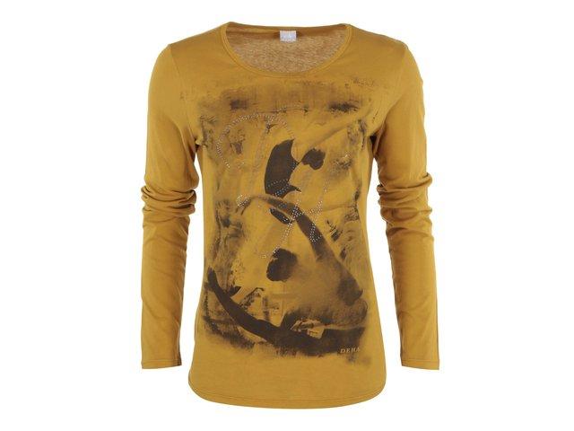 Tmavě žluté tričko s dlouhým rukávem DEHA