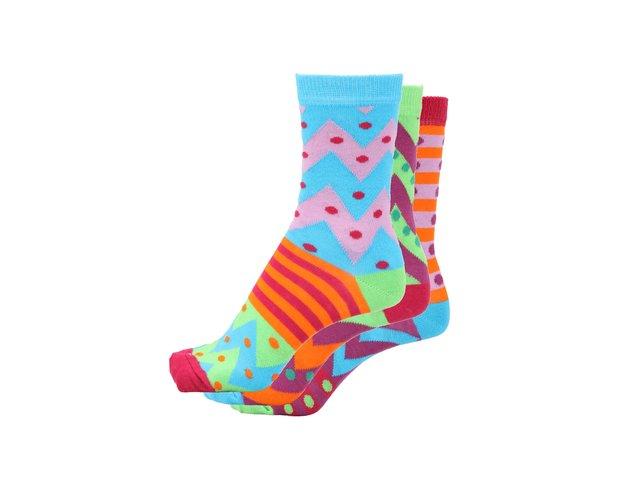 Sada tří dámských ponožek s puntíky a proužky Oddsocks Katie