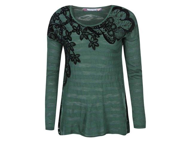 Zelené tričko se vzorem květin Desigual Chapin