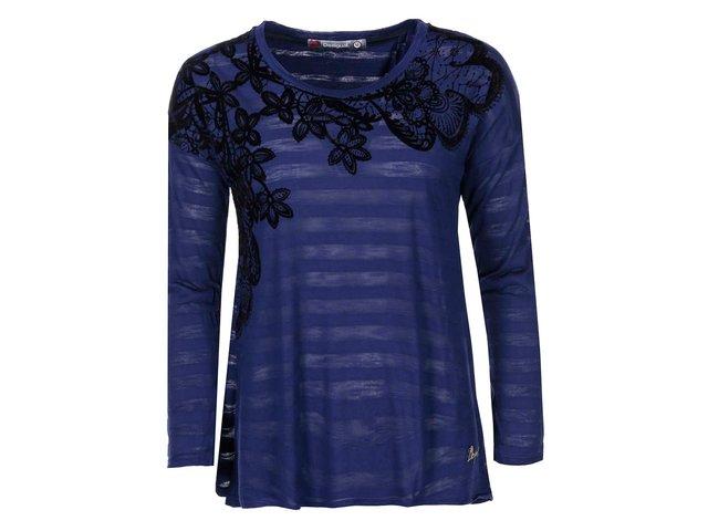 Modré tričko se vzorem květin Desigual Chapin
