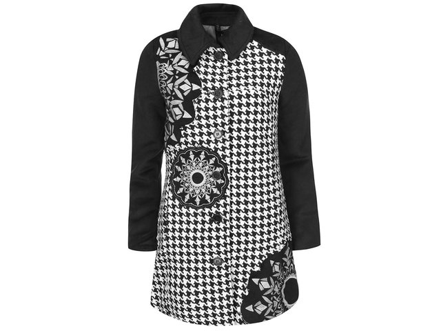 Bílo-černý kabát se vzorem Desigual Cynthia