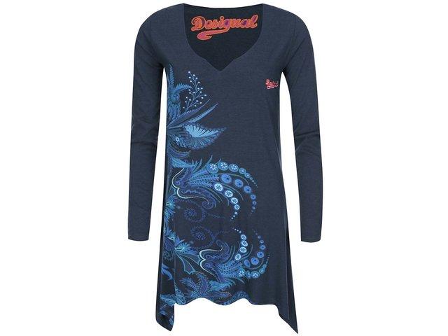 Tmavě modré delší tričko se vzorem Desigual Mares