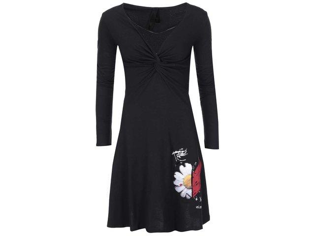 Černé šaty se vzorem Desigual Anémona