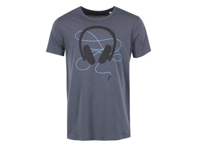Modrošedé pánské triko ZOOT Originál Headphones