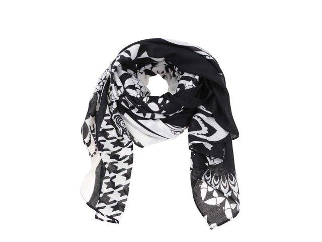 Bílo-černý šátek se vzory Desigual Twill Geofresh 6c28fca101