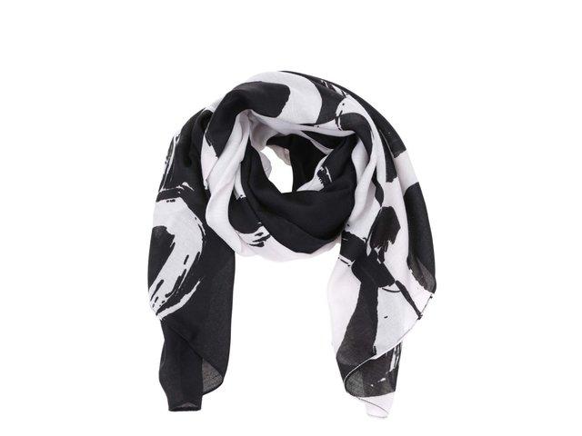 Černo-bílý šátek Desigual Rectangle Flo