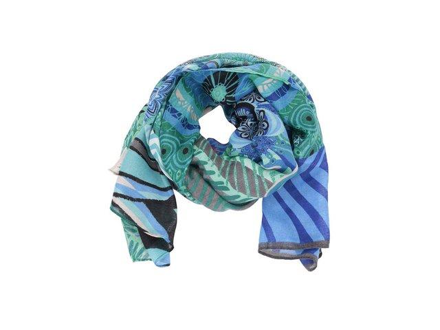 Zeleno-modrý šátek se vzory Desigual Seduccio Blue