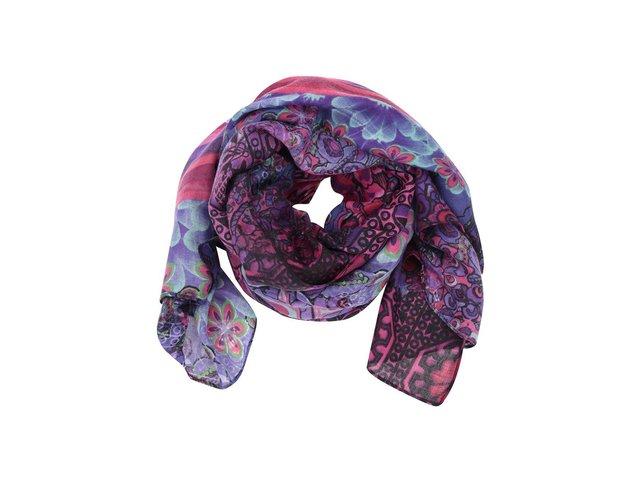 Fialový šátek se vzory Desigual Space Oddity