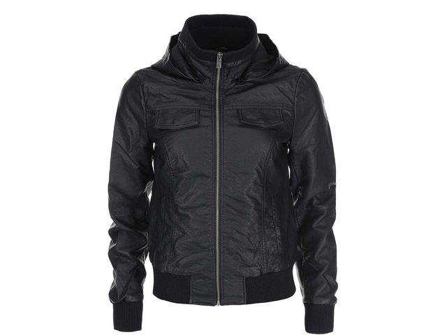Černá koženková bunda s kapucí ONLY Lucky