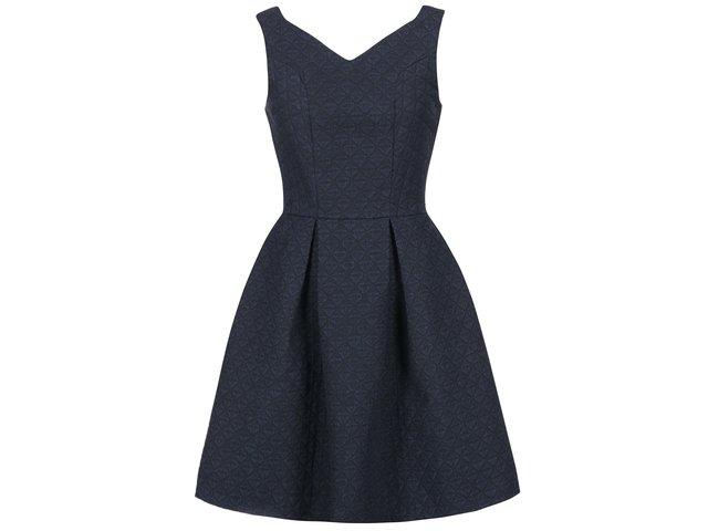 Tmavě modré šaty s trojúhelníkovou texturou Closet